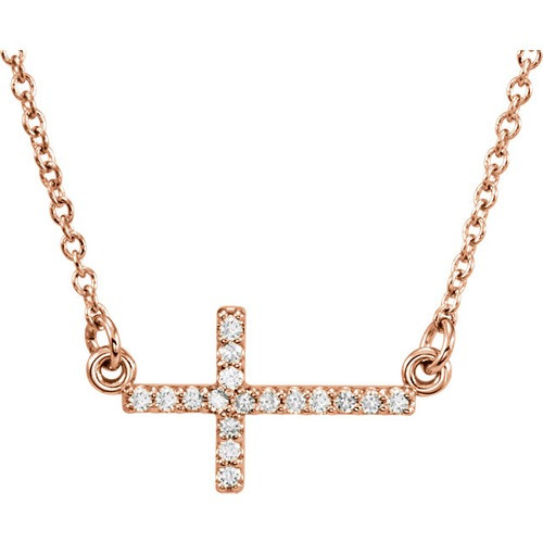 "14kt Rose Gold  .08 CTW Diamond Sideways Cross 16-18"" Necklace"