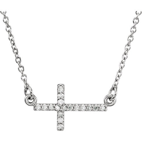 "14kt White Gold  .08 CTW Diamond Sideways Cross 16-18"" Necklace"