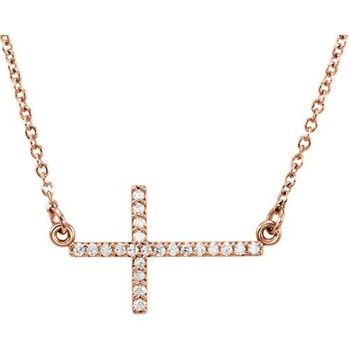 "14kt Rose Gold  1/10 CTW Diamond Sideways Cross 16-18"" Necklace"