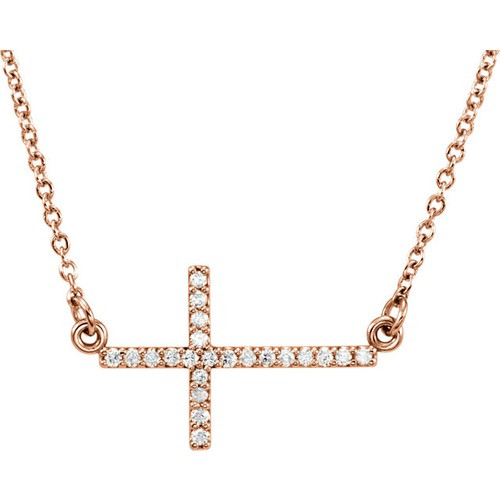 "14kt Rose Gold  1/10 CTW Diamond Sideways Cross 16-18"" Necklace"