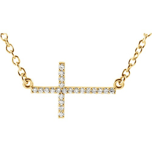 "14kt Yellow Gold  1/10 CTW Diamond Sideways Cross 16-18"" Necklace"