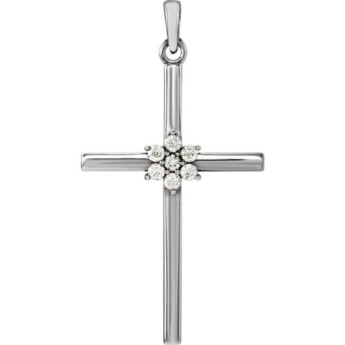 14kt White Gold 1/10 CTW Diamond Cross Pendant 1.54 Grams