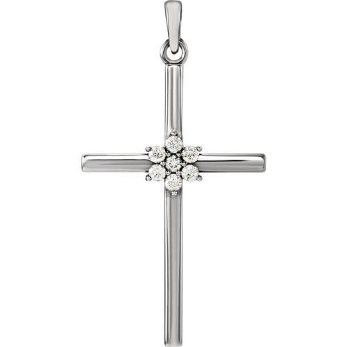 14kt White Gold 1/10 CTW Diamond Cross Pendant 1.54 Grams
