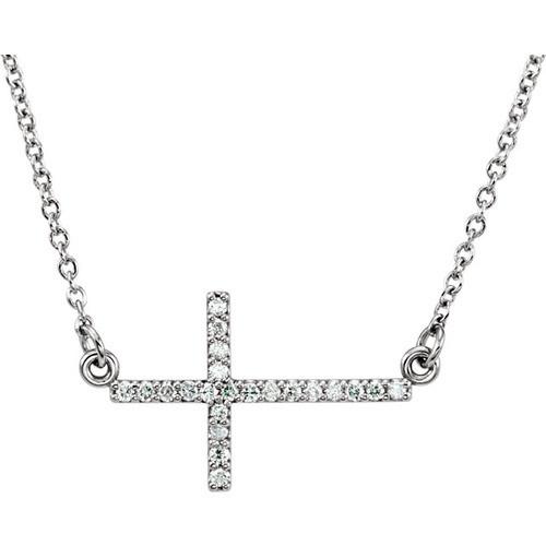 "14kt White Gold  1/10 CTW Diamond Sideways Cross 16-18"" Necklace"
