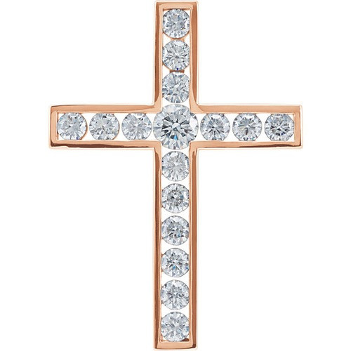 14kt Rose Gold 1 1/2 CTW Diamond Cross Pendant 4.95 Grams