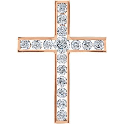 14kt Rose Gold 1 1/2 CTW Diamond Cross Pendant 4.95 Grams
