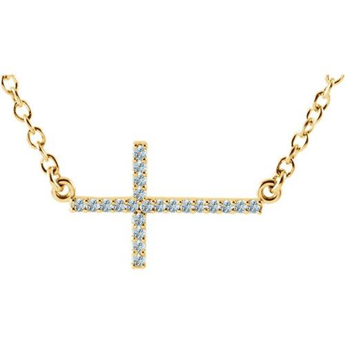 "14kt Yellow Gold  Aquamarine Sideways Cross 16-18"" Necklace"