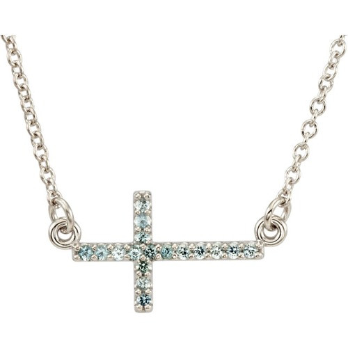 "14kt White Gold  Aquamarine Sideways Cross 16-18"" Necklace"