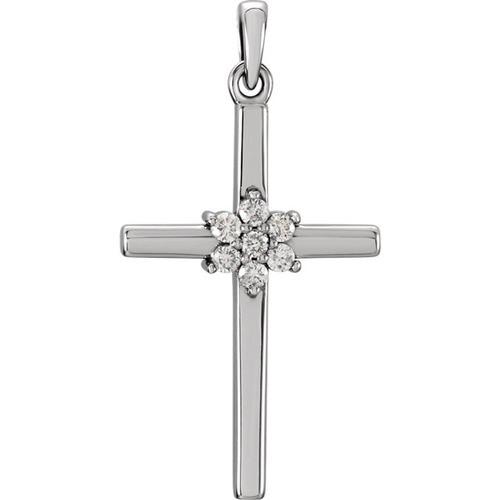 14kt White Gold 1/10 CTW Diamond Cross Pendant 1.44 Grams