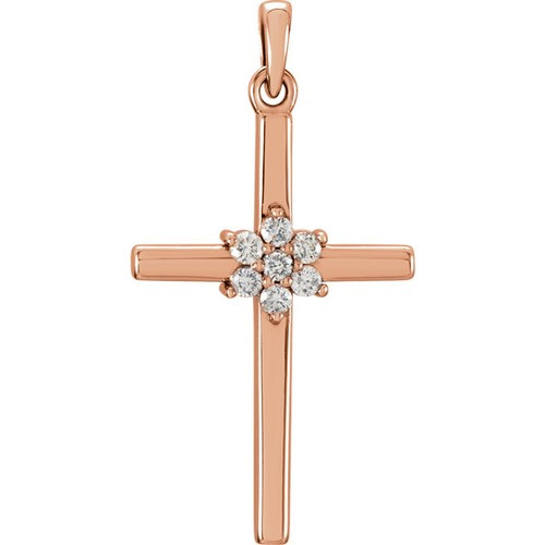 14kt Rose Gold 1/10 CTW Diamond Cross Pendant
