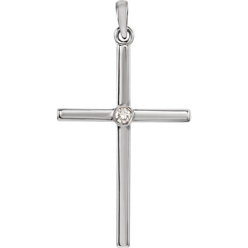 14kt White Gold  .03 CTW Diamond Cross 30.55x16.55mm Pendant