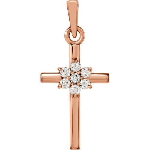 14kt Rose Gold  .07 CTW Diamond Cross Pendant