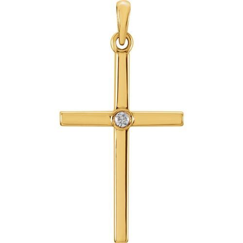 14kt Yellow Gold  .02 CTW Diamond Cross 26.55x13.75mm Pendant