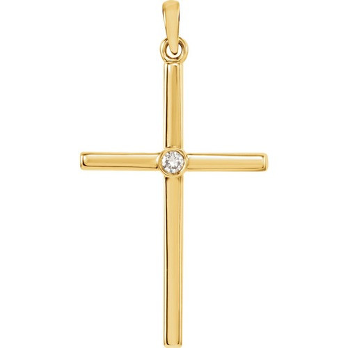 14kt Yellow Gold  .03 CTW Diamond Cross 30.55x16.55mm Pendant