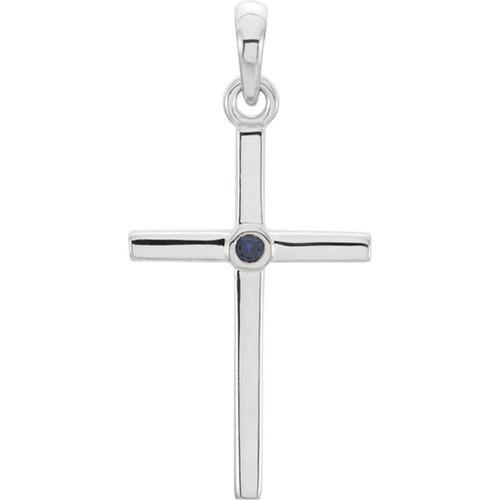14kt White Gold  Blue Sapphire Cross 22.75x11.3mm Pendant