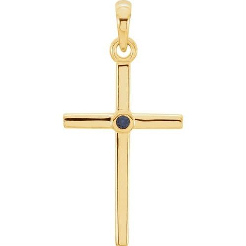 14kt Yellow Gold  Blue Sapphire Cross 22.75x11.3mm Pendant