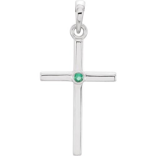 14kt White Gold  Emerald Cross 22.75x11.3mm Pendant