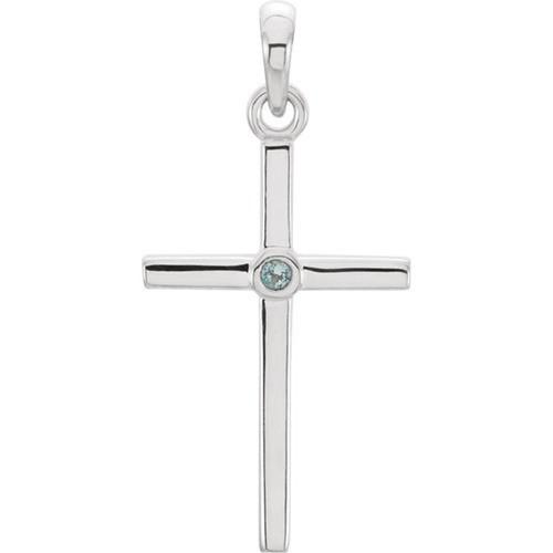14kt White Gold  Aquamarine Cross 22.75x11.3mm Pendant
