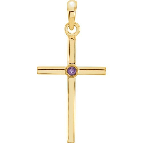 14kt Yellow Gold  Amethyst Cross 22.75x11.3mm Pendant