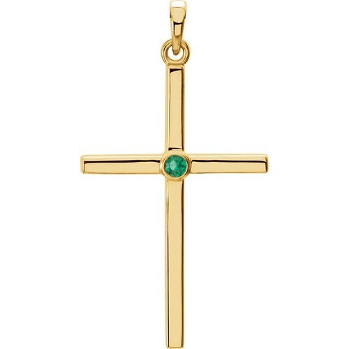14kt Yellow Gold  Emerald Cross 30.55x16.55mm Pendant