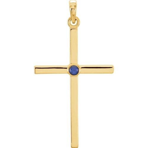 14kt Yellow Gold  Blue Sapphire Cross 30.55x16.55mm Pendant