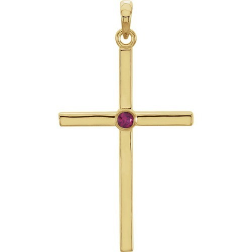 14kt Yellow Gold  Ruby Cross 30.55x16.55mm Pendant
