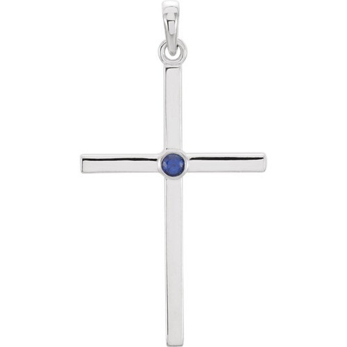 14kt White Gold  Blue Sapphire Cross 30.55x16.55mm Pendant