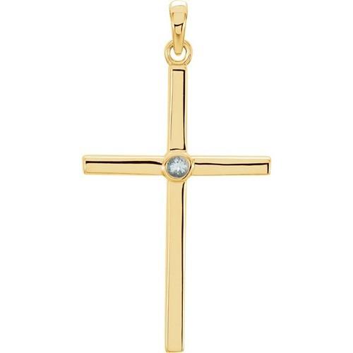 14kt Yellow Gold  Aquamarine Cross 30.55x16.55mm Pendant