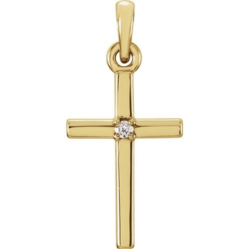 14kt Yellow Gold  .01 CTW Diamond Cross 19.2x9mm Pendant