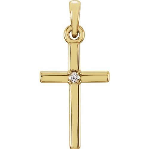 14kt Yellow Gold  .01 CTW Diamond Cross 19.2x9mm Pendant