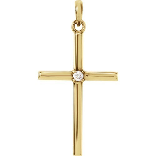 14kt Yellow Gold  .02 CTW Diamond Cross 26.5x13.75mm Pendant