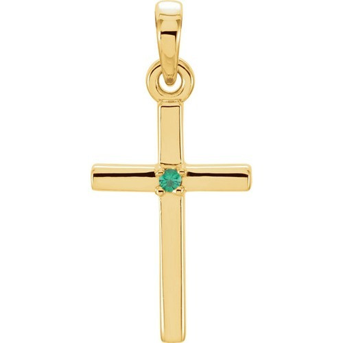14kt Yellow Gold  Emerald Cross 19.2x9mm Pendant
