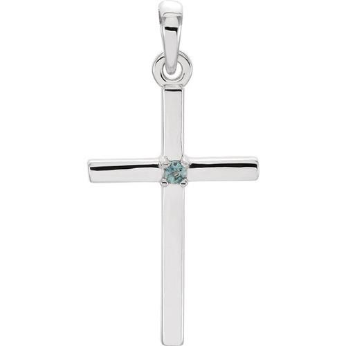 14kt White Gold  Alexandrite Cross 22.6x11.4mm Pendant