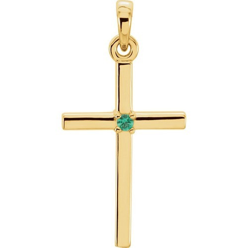 14kt Yellow Gold  Emerald Cross 22.65x11.4mm Pendant