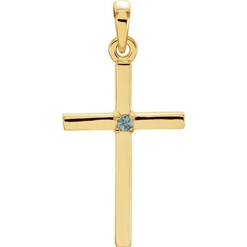 14kt Yellow Gold  Alexandrite Cross 22.65x11.4mm Pendant