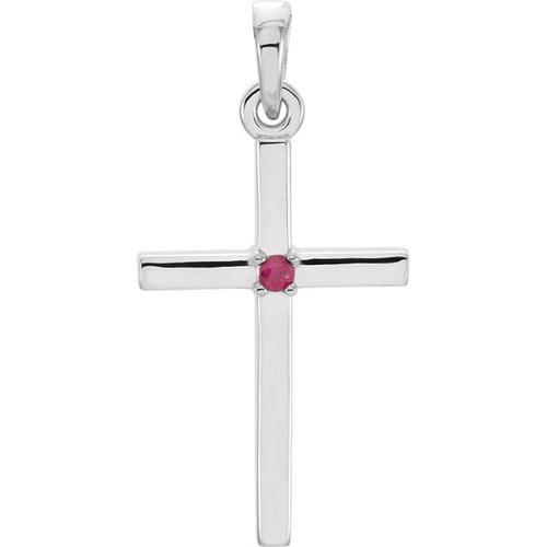 14kt White Gold Ruby Cross Pendant