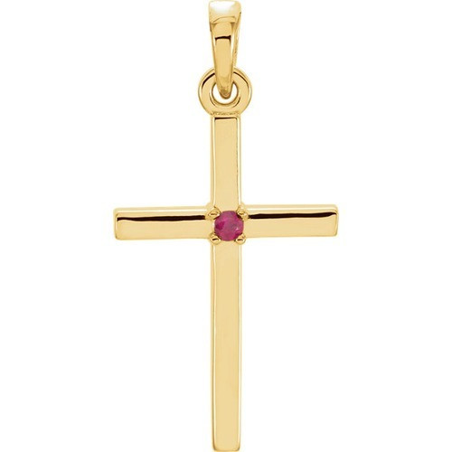 14kt Yellow Gold  Ruby Cross 22.65x11.4mm Pendant