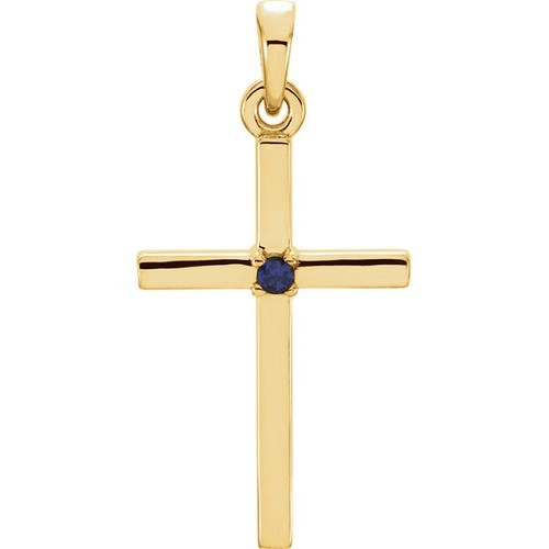 14kt Yellow Gold  Blue Sapphire Cross 22.65x11.4mm Pendant