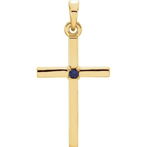 14kt Yellow Gold  Blue Sapphire Cross 22.65x11.4mm Pendant