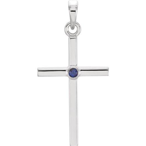 14kt White Gold  Blue Sapphire Cross 22.65x11.4mm Pendant