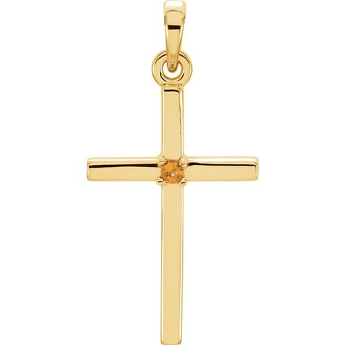 14kt Yellow Gold  Citrine Cross 22.65x11.4mm Pendant