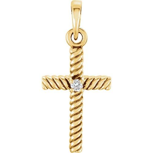 14kt Yellow Gold  .015 CTW Diamond 18.9x8.65mm Rope Design Cross Pendant