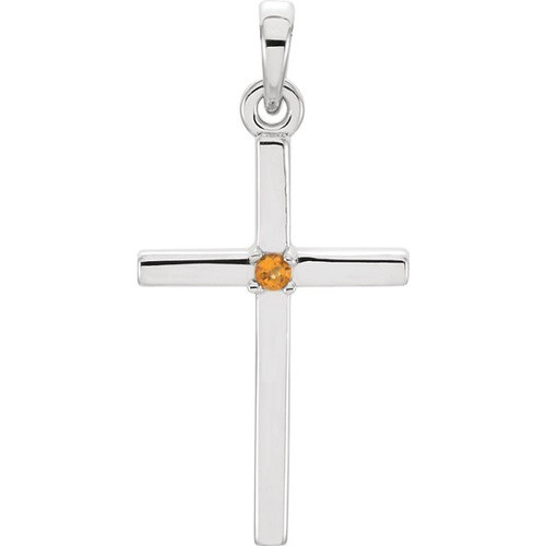 14kt White Gold  Citrine Cross 22.65x11.4mm Pendant