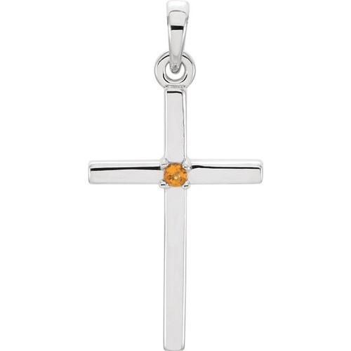 14kt White Gold  Citrine Cross 22.65x11.4mm Pendant