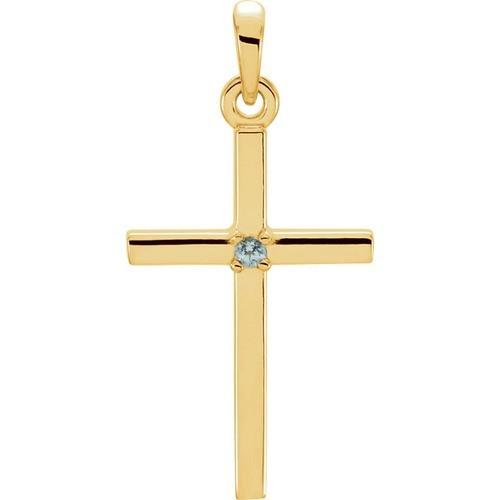 14kt Yellow Gold  Blue Zircon Cross 22.65x11.4mm Pendant