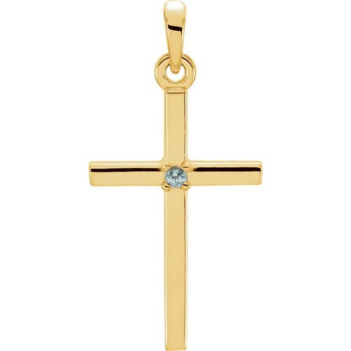14kt Yellow Gold  Blue Zircon Cross 22.65x11.4mm Pendant