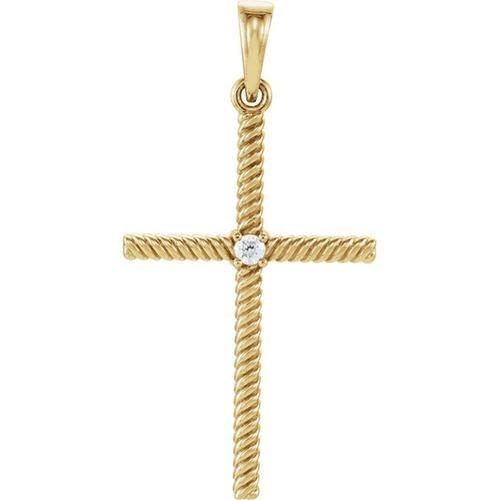 14kt Yellow Gold  .03 CTW Diamond 31.95x16.3mm Rope Design Cross Pendant