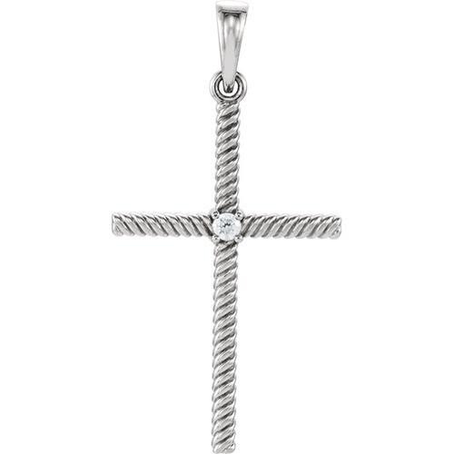 14kt White Gold  .03 CTW Diamond 31.95x16.3mm Rope Design Cross Pendant