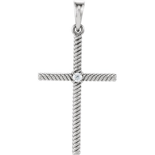 14kt White Gold  .03 CTW Diamond 31.95x16.3mm Rope Design Cross Pendant