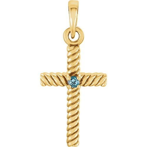 14kt Yellow Gold  Swiss Blue Topaz 31.95x16.3mm Rope Design Cross Pendant